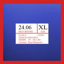 Sato Duo & PB220 16mm x 23mm Printed Egg Labels